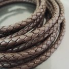 1 Yard 6mm Dark Brown Genuine Braided Round Leather Cord