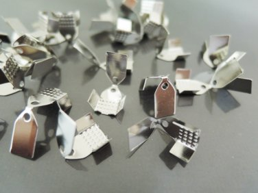 Finding - 20 pcs Silver Plated Flat Clamp Fold Over End Cap Crimps ( Inside 6mm )
