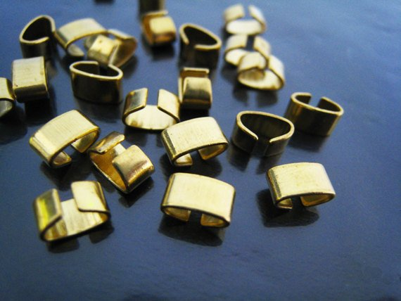 Finding - 500 pcs Gold Adjustable Crimp Round Tone Tube Curve Clip Fold Over End Cap 6.5mm x 4mm