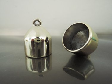 Finding - 2 pcs Gold Lage End Cap with Loop ( Inside 18mm )