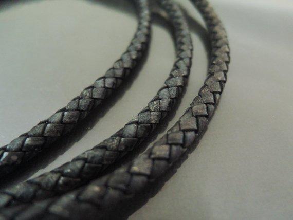 1 Yard 5mm Antique Black Genuine Braided Round Leather Cord