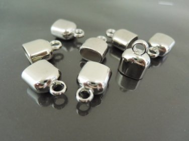Finding - 4 pcs Silver Leather Cord Plastic Ends Cap with Loop For Round Leathers ( 10mm x 6mm )