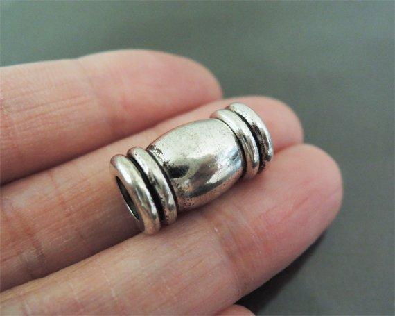 Finding - 1 Set Silver Magnetic Clasp Buckle Fastener ( Inside 5mm Diameter )