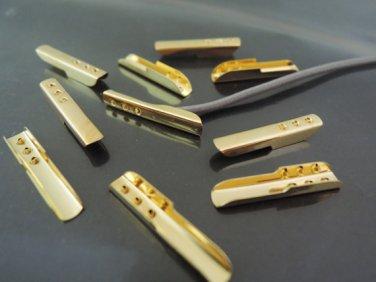 Finding - 20 pcs Gold Metal Fold Over Crimp 16.5mm x 2mm