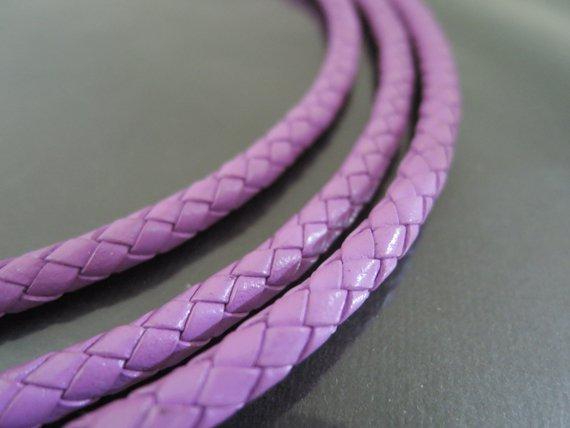 1 Yard 5mm Light Purple Genuine Braided Round Leather Cord