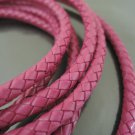 1 Yard 6mm Hot Pink Genuine Braided Round Leather Cord