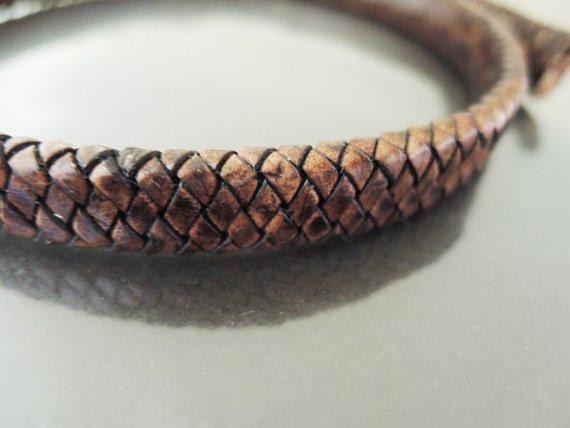 Half Yard 12mm x 5mm Brown Flat Braided Leather Cord