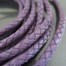 1 Yard 5mm Violet Purple Genuine Braided Round Leather Cord
