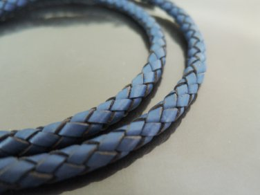 1 Yard 6mm Dull Blue Genuine Braided Round Leather Cord