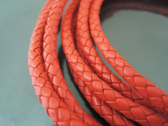 1 Yard 5mm Red Genuine Braided Round Leather Cord