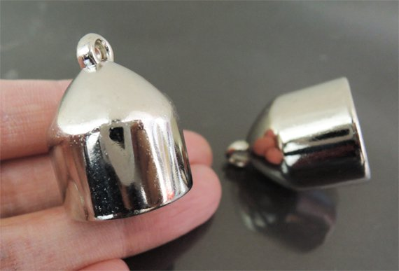 Finding - 2 pcs Silver Lage End Cap with Loop ( Inside 18mm )