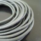 1 Yard 3mm Metallic Silver Genuine Round Leather Cord