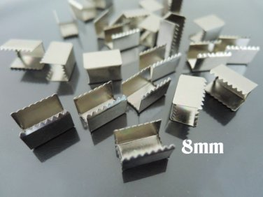 Finding - 10 pcs Silver Plated Flat Clamp Fold Over End Cap Crimps ( Inside 8mm )