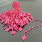 100pcs Hot Pink Brown Hang Tag String with Plastic Fastener