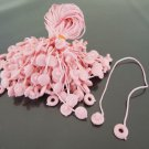 100pcs Pink Hang Tag String with Round Plastic Fastener