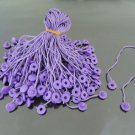 100pcs Purple Hang Tag String with Round  Plastic Fastener