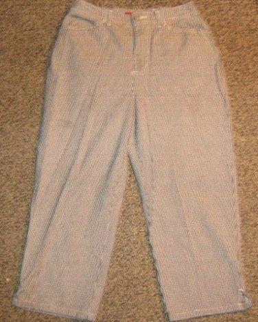 GLORIA VANDERBILT * Womens sz 4 black & white checkered Capri Pants