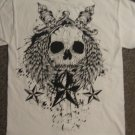 Mens sz SMALL white cotton Skull Tee SHIRT