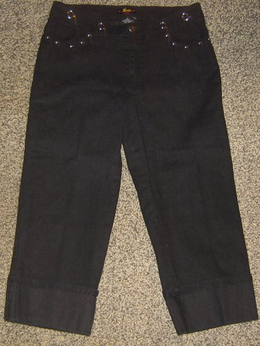 ANNIE USA * Womens Collection sz 11 black Relaxed Capri Pants