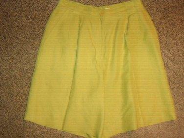 ANN TAYLOR * Womens sz 10 green linen pleated Dress SHORTS