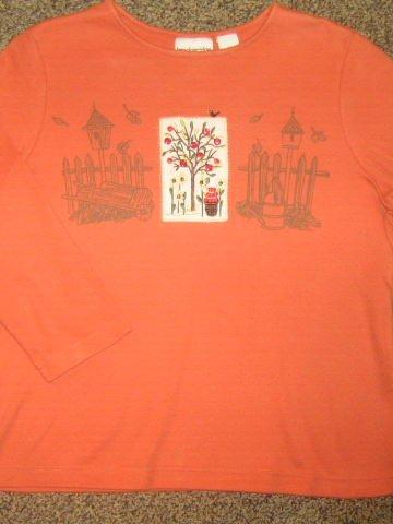 BRECKENRIDGE * Petite Womens Sz MEDIUM orange fall themed casual SHIRT