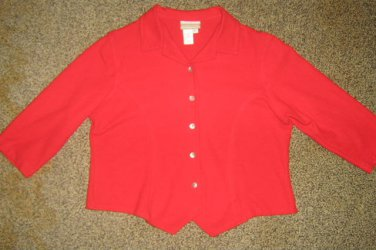 COLDWATER CREEK * Womens sz LARGE casual red button down SHIRT