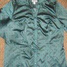 CROFT & BARROW * Womens sz MEDIUM green blouse career button down SHIRT