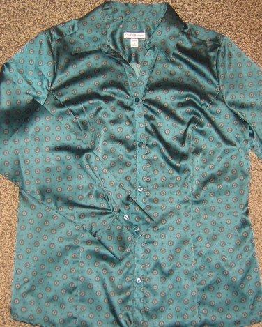 CROFT & BARROW * Womens sz MEDIUM green blouse career button down SHIRT