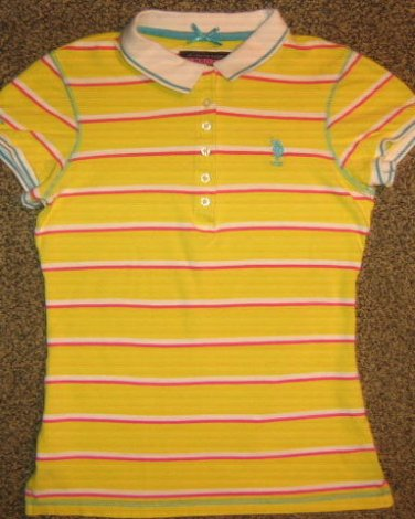 US POLO ASSOCIATION * Womens sz SMALL S cotton yellow striped polo SHIRT