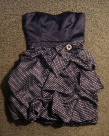 TRIXXI * Womens sz 7 navy blue & polka dots strapless party Dress