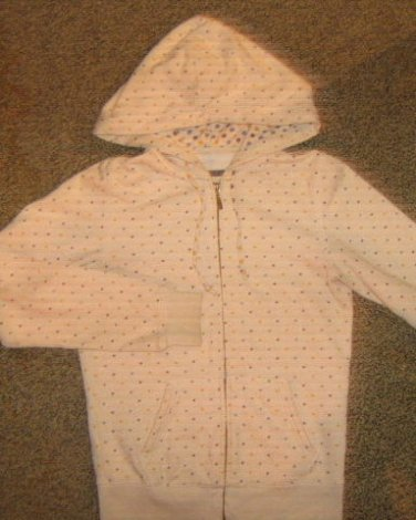 AEROPOSTALE * Womens Medium cream white w polka dots casual Hoodie JACKET coat