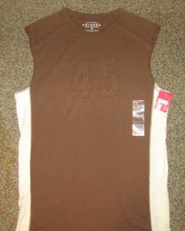 NWTS * ARIZONA JEANS * Boys sz 18 / 20 Large brown sleeveless jersey SHIRT