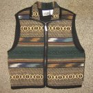 CHICOS * Womens sz 0 SMALL black VEST Aztec Design Full Zipper