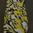 EXPRESS * Womens sz 4 Colorful white yellow & black strapless party Dress