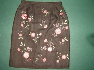 Casual Corner womens sz 4  X Small XS  brown floral 100% silk mini skirt