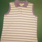 BOBBIE BROOKS womens sz medium cotton blend purple striped polo shirt