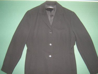 TAHARI petite womens sz 8 8P solid black career 100% polyester blazer jacket