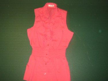 AGACI womens sz Medium  M peachy pink botton down blouse shirt