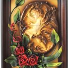 Bas-Relief Angels with Leather  Red Flowers in Wood Frame