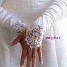 WHITE Embellished Lace Gauntlet Glove 12 in