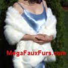 Ivory Faux Fox Furs Stole With Clasp