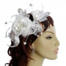 White Rose Fascinator with grey beaded lace