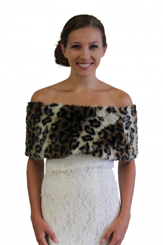 Faux Fur Leopard Print Shrug | Tion Design | MN