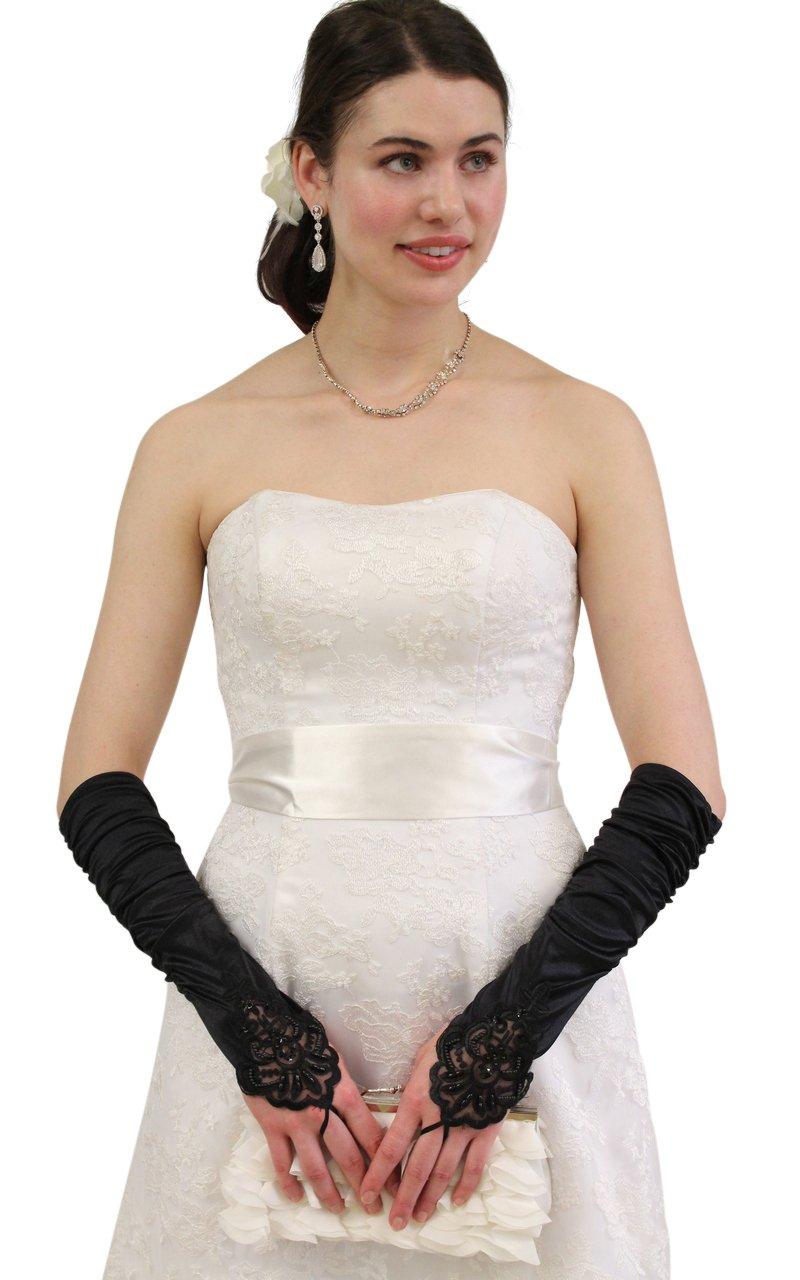Black Embellished Lace Gauntlet Glove