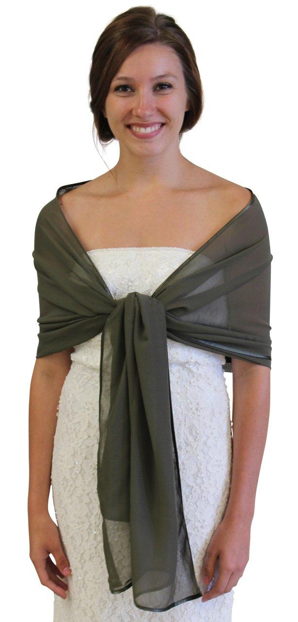 Chiffon Bridal Shawl Navy Green
