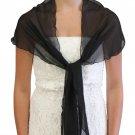 Chiffon Bridal Wrap Wedding Shawl - Black 5139CH
