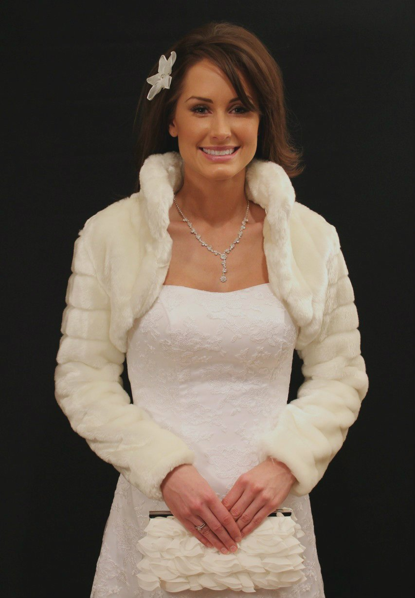 Ivory Faux Fur Jacket Long Sleeve on Spring Sale (S, L only)