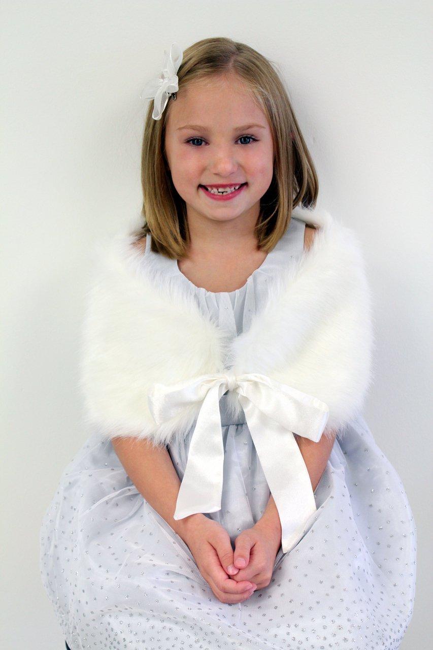 White Girls Child Faux Fur Shawl