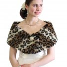 Bridal Shrug, Leopard Print Faux Fur Wrap on Spring Sale