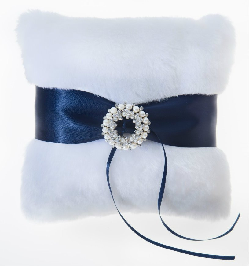 Navy Blue Faux Fur Ring Bearer Pillow